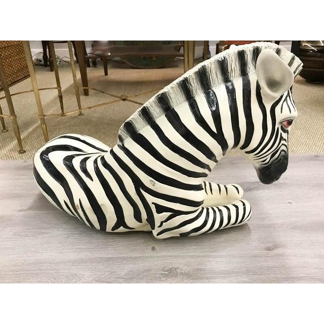 Large Mid Century Ceramic Zebra Statue - Image 5 of 9