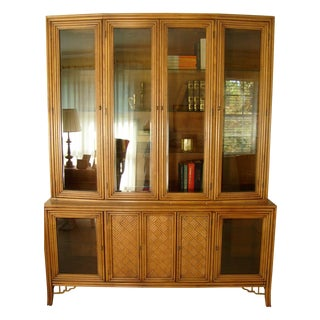 Thomasville Vintage Tropical Palm Beach Style China Cabinet
