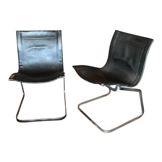 B. Altman & Co. Leather Sling Chairs- A Pair
