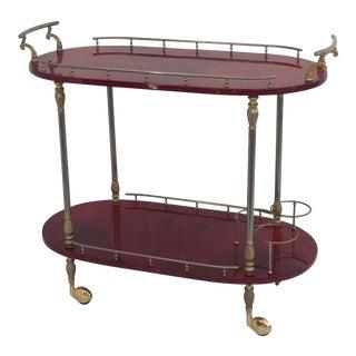 Red Parchment Aldo Tura Bar Cart