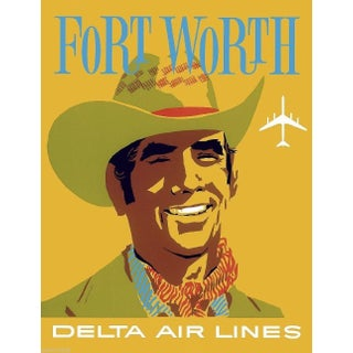 Forth Worth Travel Poster, Matted and Framed
