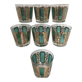Mid-Century Emerald Green Low Ball Glasses - Set of 7