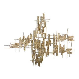 Large Brass Brutalist Wall Art by Curtis Jere