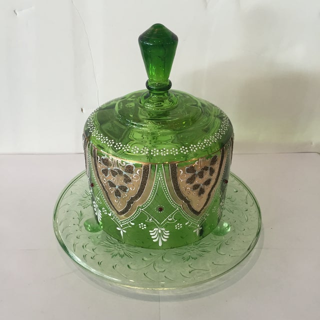 Vintage Green Glass Bohemian Cake Plate With Lid - Image 2 of 5