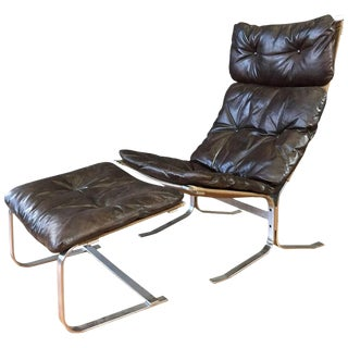 "Ingmar Relling for Westnofa Steel ""Siesta"" Chair & Ottoman - A Pair"