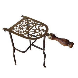 Antique Brass Standing Fire Place Trivet