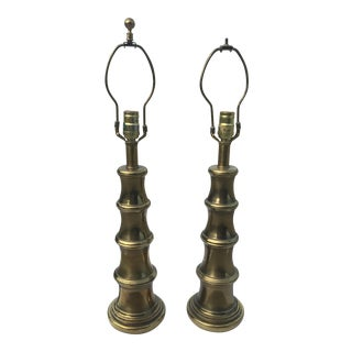 Faux Bamboo Brass Stiffel Lamp - A Pair