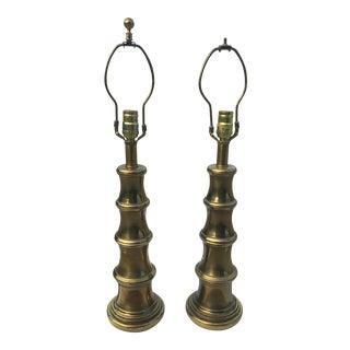 Faux Bamboo Brass Stiffel Lamp - A Pair