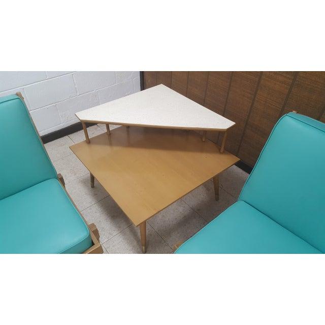 Mid-Century Turquoise Sofa & Table Set - Image 7 of 10