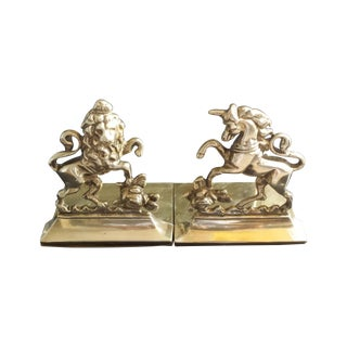 Brass Lion and Unicorn Bookends