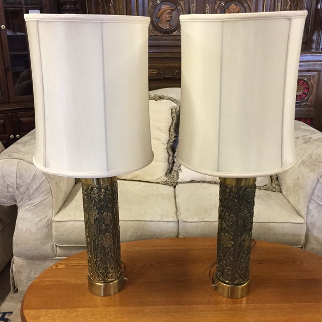 Vintage Floral Brass Table Lamps - A Pair - Image 2 of 6