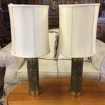 Image of Vintage Floral Brass Table Lamps - A Pair