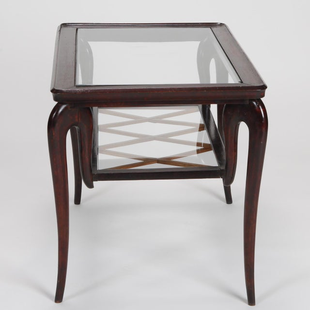 Antique Art Deco Tiered Walnut Glass Side Table - Image 6 of 11