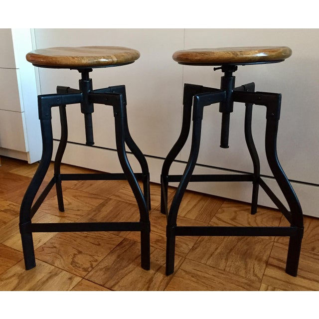 Industrial/Rustic Adjustable Height Swivel Bar Stools - a Pair - Image 4 of 4