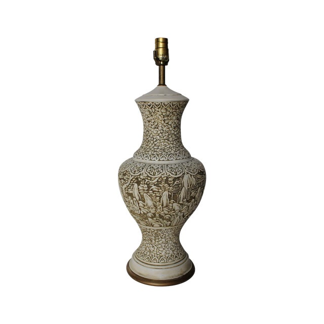 Plaster Relief Table Lamp with Floral Landscape - Image 1 of 7