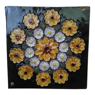 Mid-Century Swedish Floral Wall Plaque By Jie Gantofta Sweden