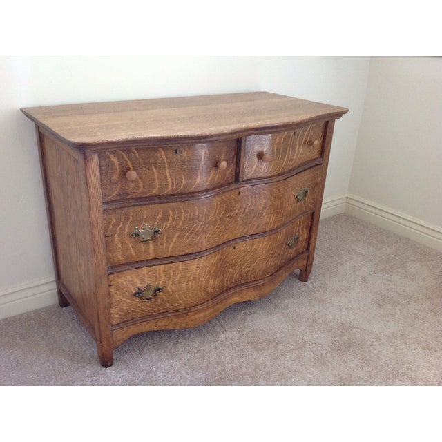 Image of Antique 4-Drawer Tiger Oak Dresser