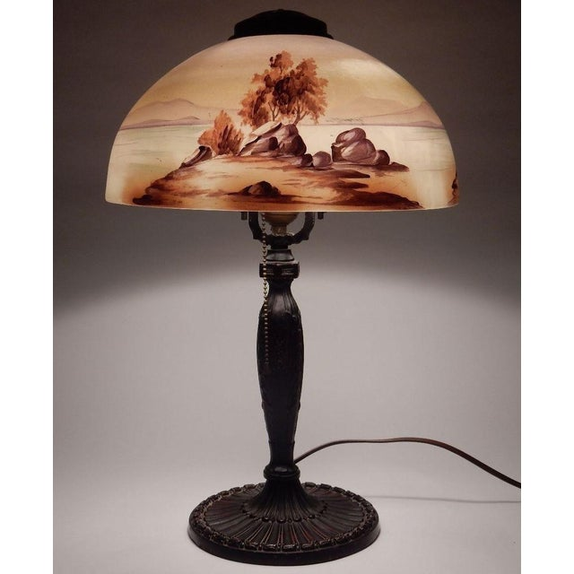 Antique Signed Pittsburgh Electric Reverse Painted Table Lamp - Image 2 of 11
