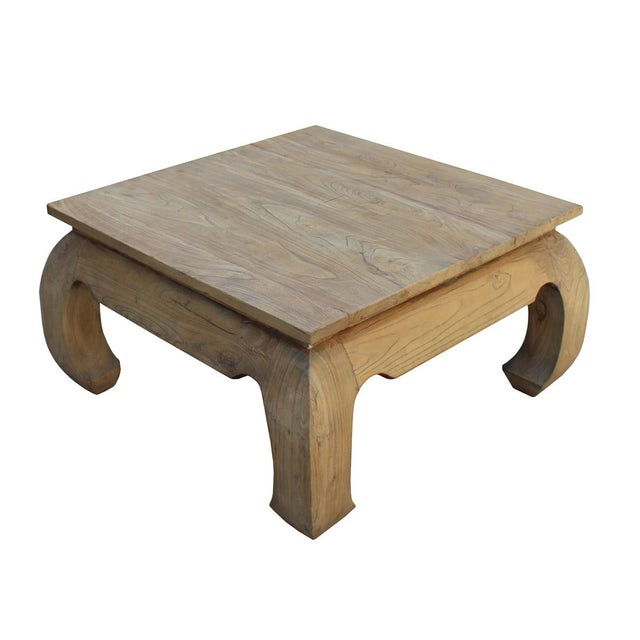 Image Of Square Unfinished Raw Wood Curved Legs Coffee Table