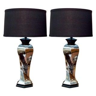 Chrome Matte Black Twist Design Table Lamps - 2