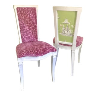 Pair of Vintage Reupholstered Pink & White Chairs