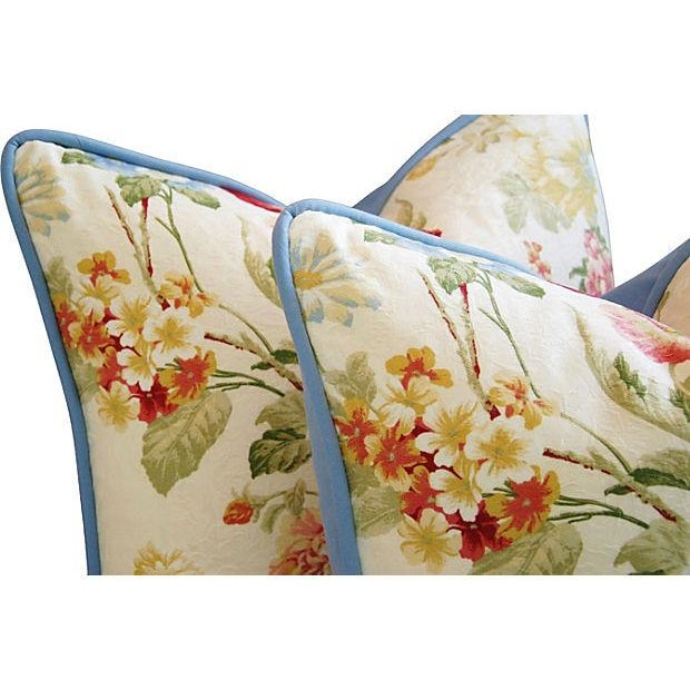 Designer English Jacquard Floral Pillows - Pair - Image 4 of 7