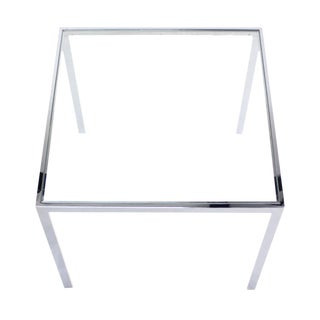 Square Chrome & Glass Side Table