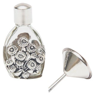 French Deco Sterling Silver and Glass Traveling Perfume Bottle and Funnel