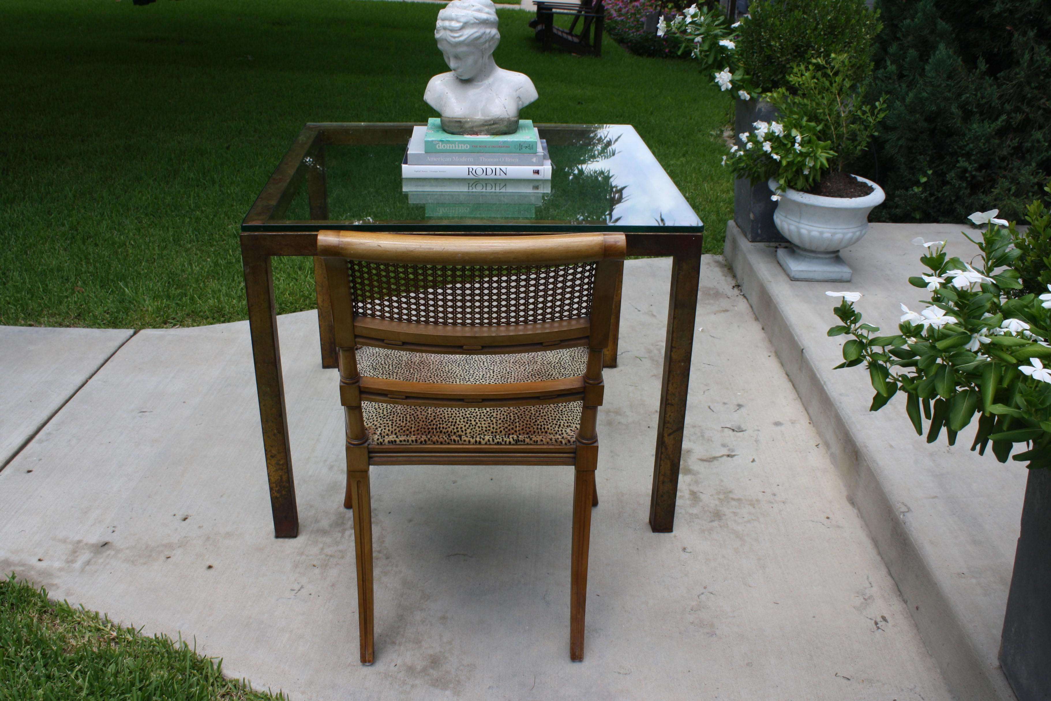 Vintage Modernist Gilt Metal Parsons Table With Thick Glass Top   Image 8  Of 10