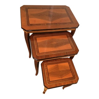 Italian Burled Walnut Nesting Tables - Set of 3