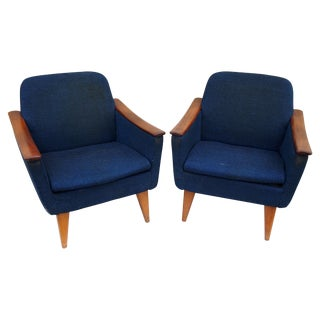 Blue American Modern Lounge Chairs - Pair