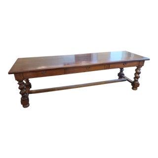19th C. Italian Walnut Trestle Table