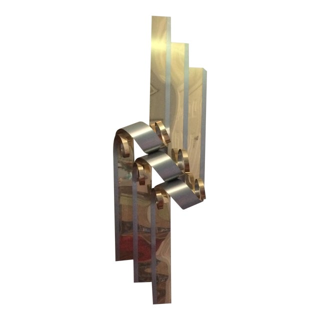 Mid-Century Two Tone Metal Ribbon Sculpture - Image 1 of 9