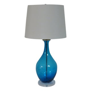 Azure Blue Blown Glass Lamp