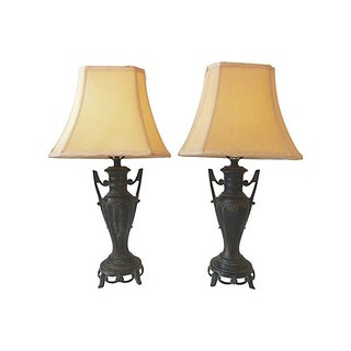 Asian Bronze Lamps - Pair