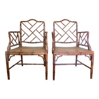 Chinese Chippendale Faux Bamboo Cane Armchairs-A Pair