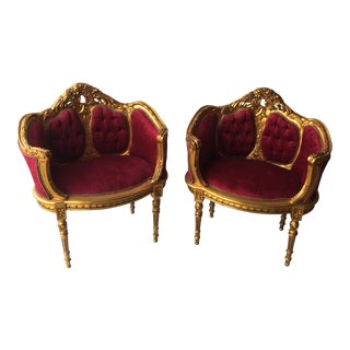 Antique Gilt Red Velvet Chairs - a Pair