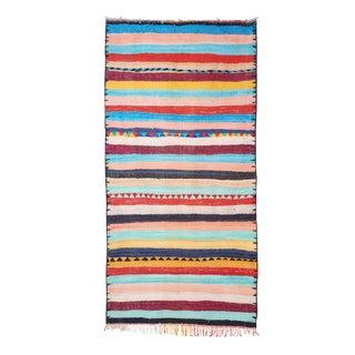 Vintage Moroccan Striped Hand Woven Kilim Rug - 5′ × 9′10″
