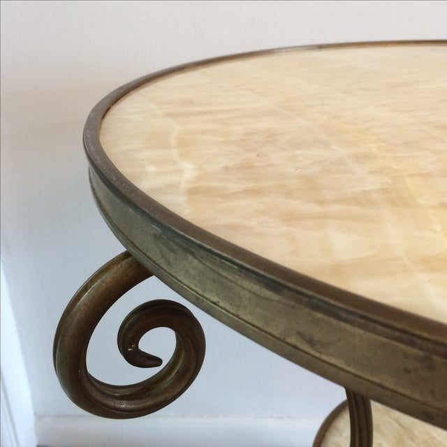 Gueridon Vintage Neoclassical Bronze & Onyx Table - Image 4 of 10