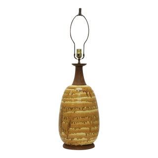 Mid-Century Modern Burnt Mustard Drip Glaze Lamp