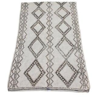 Vintage Moroccan Ivory and Brown Berber Rug - 5′9″ × 9′4″