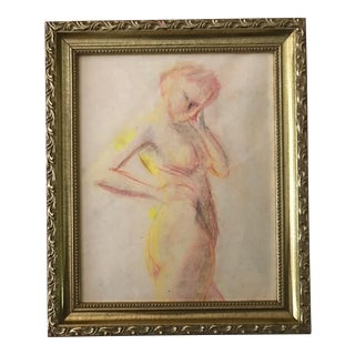 1950s Vintage Pastel Drawing Study of a Nude