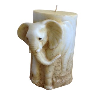Carved Elephants Artisan Pillar Candle