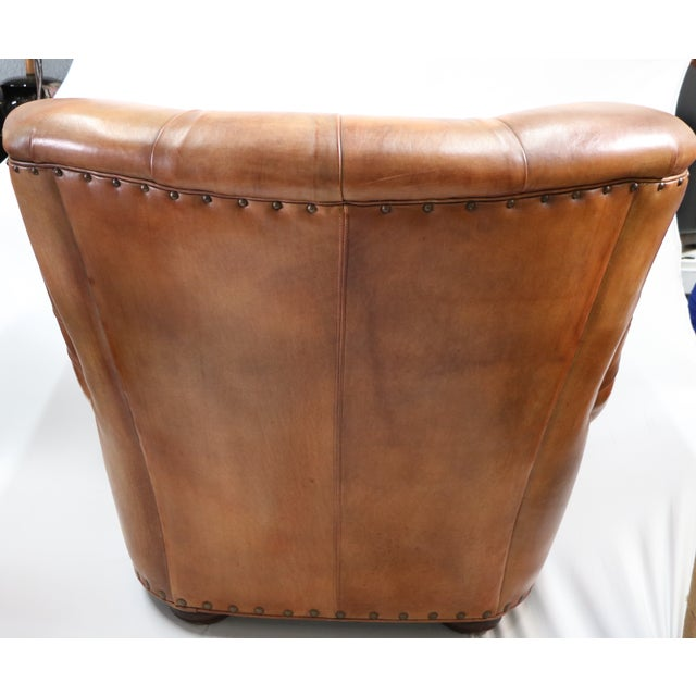 Hancock & Moore Leather Chair With Ottoman - Image 3 of 5