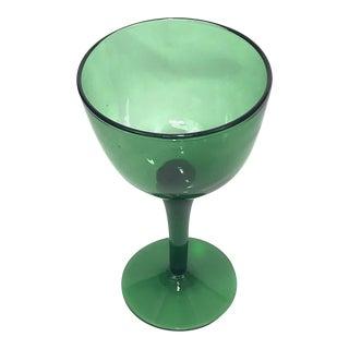 Vintage Green Blown Glass Pedestal Bowl