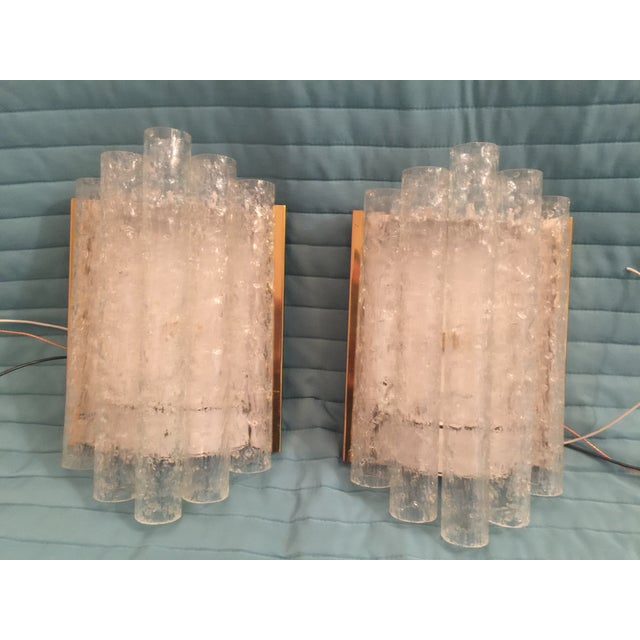 Ice Glass/Brass Sconces by Doria - Pair - Image 2 of 5