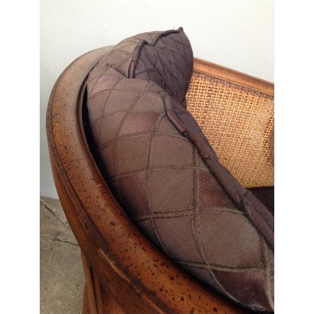 Image of Caned and Upholstered Barrel Back Lounge Chair