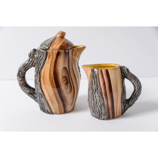 """French Vallauris Faux Bois """"Tete a Tete"""" Coffee Set - Image 2 of 10"""