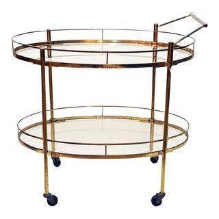 Maxwell Phillips Brass Two-Tier Tea Cart