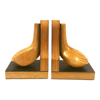 Mid-Century Wood Golf Club Bookends - A Pair